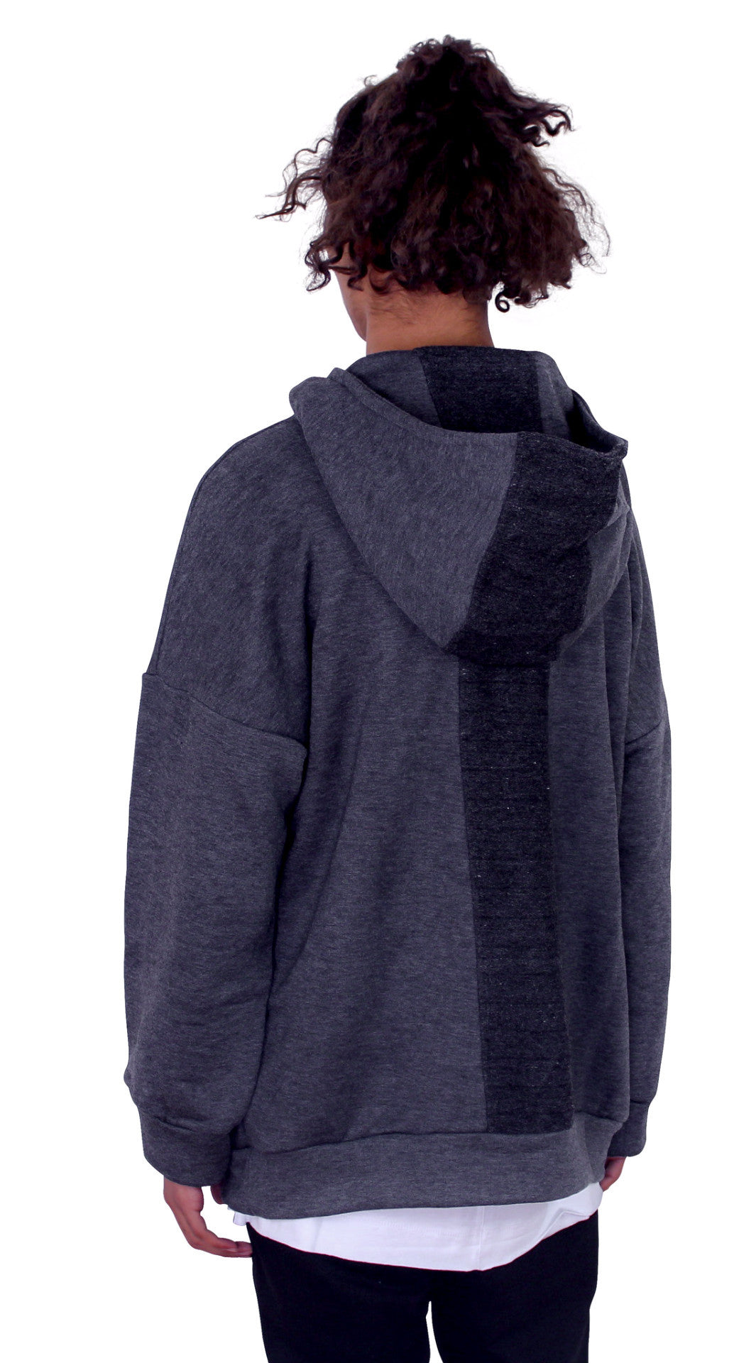 REVERSED BACK PANEL HOODIE - ASH