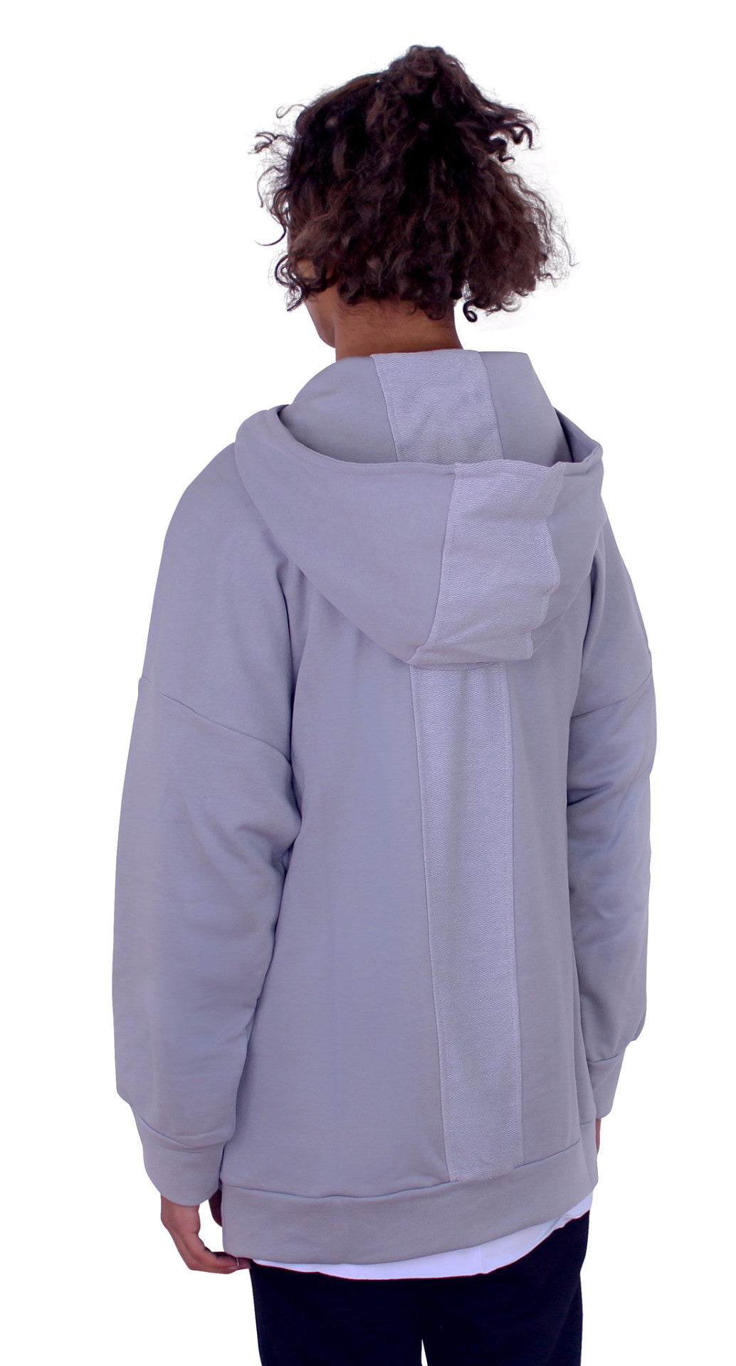 REVERSED BACK PANEL HOODIE - CLOUDY GREY