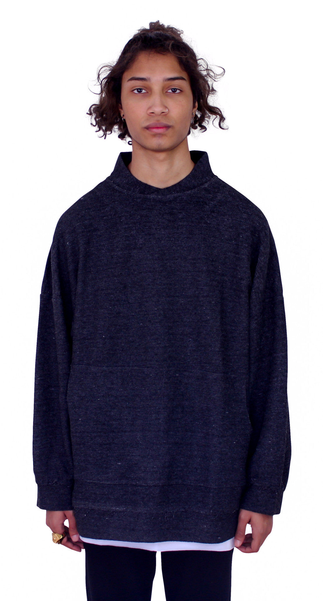 DESTROYED REVERSED PULLOVER - ASH