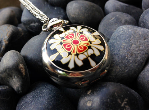 Asian Print Watch Necklace on Chain