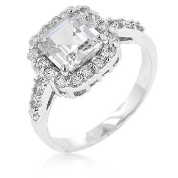 Asscher Cut Engagement Ring, in Cubic Zirconia with Rhodium Silver Finish
