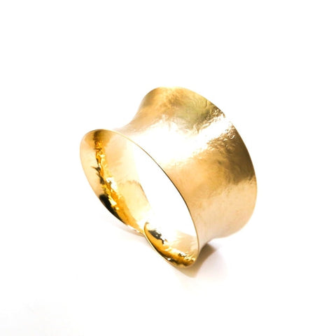 Brass Cuff, Concave Design Adjustable in Gold Finish