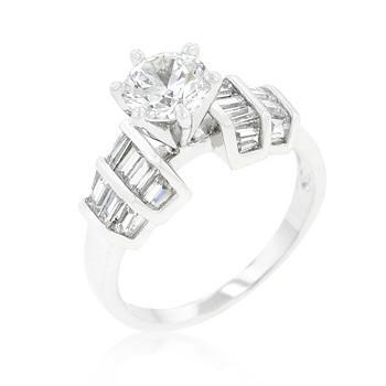 Cubic Zirconia Engagement Ring with 1.7 Round Stone and Biguettes