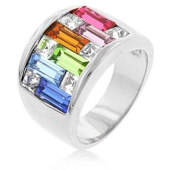 Multi Colored Band with Cubic Zirconia Stones in Silver Rhodium Finish