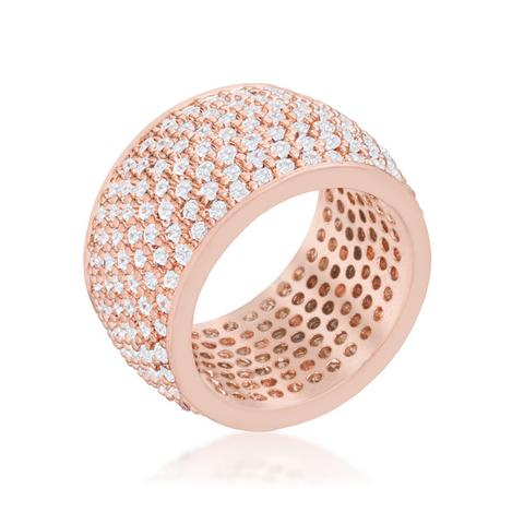 Rose Gold Plated, Cubic Zirconia Pave Band Ring