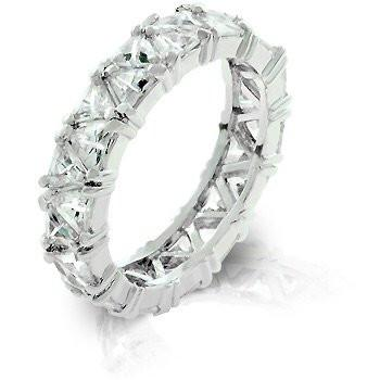 Trillion Eternity Band Ring, with CZs in Silver Rhodium Finish