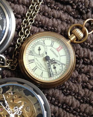 Watch Necklace, Mechanical Open Face Antique Gold Soho London Pendant on Chain