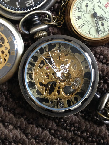 Watch Necklace, Mechanical Open Face New York Style with Classic Roman Numeral on Chain