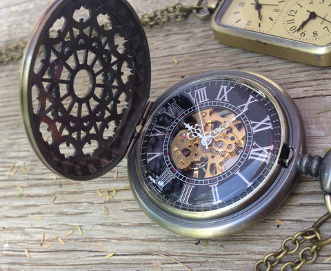 Watch Necklace, Mechanical with Filigree Cover on Chain