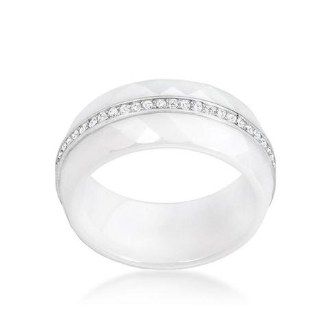 White Ring, In Ceramic with Sterling and Cubic Zirconia Center