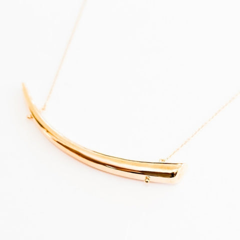 Tribal Tusk Bar Necklace is Gold Brass 2