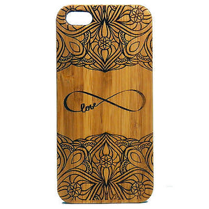 Infinity iPhone Case | 8, 8 Plus, 7, 7 Plus, 6, 6S, 6 Plus, 6S Plus, SE, 5, 5S, 5C. Bamboo Wood Cover. Eternal Symbol Forever Love Sign Lovers. By iMakeTheCase