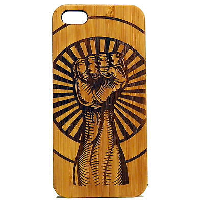 Raised Fist iPhone Case | 8, 8 Plus, 7, 7 Plus, 6, 6S, 6 Plus, SE, 5, 5S. Bamboo Wood Cover