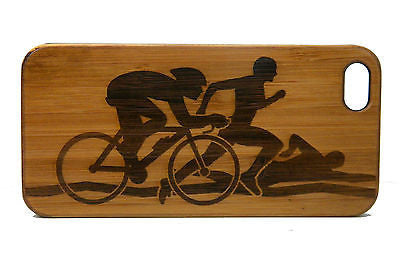 Triathlon iPhone Case | 6, 6S, 6 Plus, 6S Plus, SE, 5, 5S, 5C. Bamboo Wood Cover. Swim Bike Run Runner Cyclist Race. By iMakeTheCase