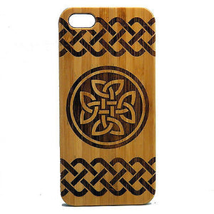 Celtic Knot iPhone Case | 8, 8 Plus, 7, 7 Plus, 6, 6S, 6 Plus, 6S Plus, SE, 5, 5S, 5C. Bamboo Wood Phone Cover. Irish Dara Quaternary. By iMakeTheCase