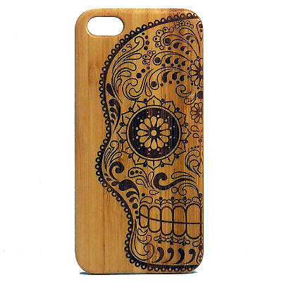 Sugar Skull iPhone Case | 6, 6S, 6 Plus, 6S Plus, SE, 5, 5S, 5C. Bamboo Wood Cover. Mexican Day of the Dead Calavera Skeleton. By iMakeTheCase