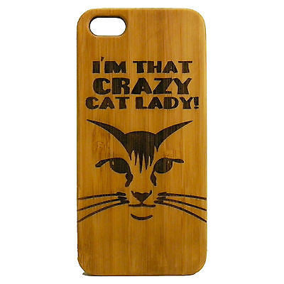 Crazy Cat Lady Laser-Engraved Case for iPhone 8, 8 Plus, 7, 7 Plus, 6, 6S, 6 Plus, SE, 5, 5S