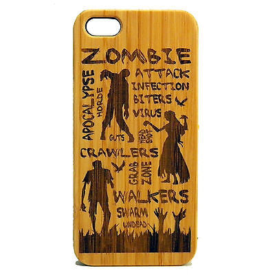 Zombie Attack iPhone Case | 6, 6S, 6 Plus, 6S Plus, SE, 5, 5S, 5C Bamboo Wood Cover. Apocalypse Dead Walking. By iMakeTheCase