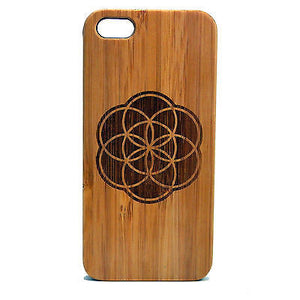 Seed of Life iPhone Case | 8, 8 Plus, 7, 7 Plus, 6, 6S, 6 Plus, 6S Plus, SE, 5, 5S, 5C. Bamboo Wood Cover. Sacred Geometry New Age Flower Spiritual Geometric. iPhone Case