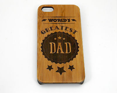 World's Greatest Dad iPhone Case | 8, 8 Plus, 7, 7 Plus, 6, 6S, 6 Plus, SE, 5, 5S Bamboo Wood Cover