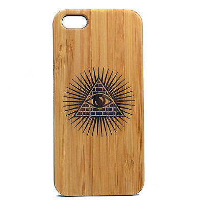 Illuminati iPhone Case | 6, 6S, 6 Plus, 6S Plus, SE, 5, 5S, 5C. Bamboo Wood Cover. Egyptian Pyraid All Seeing Eye Secret Society. By iMakeTheCase