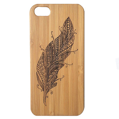 Feather iPhone Case | 8, 8 Plus, 7,  7 Plus, 6, 6S, 6 Plus, 6S Plus, SE, 5, 5S Bamboo Wood Cover