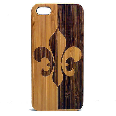 Fleur De Lis iPhone Case | 6, 6S, 6 Plus, 6S Plus, SE, 5, 5S, 5C. Bamboo Wood Cover. French Heraldry Lily Lotus Flower Saints France. By iMakeTheCase