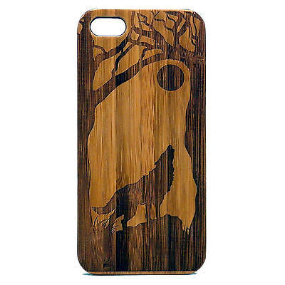 Howling Wolf iPhone Case | 8, 8 Plus, 7, 7 Plus, 6, 6S, 6 Plus, 6S Plus, SE, 5, 5S, 5C. Bamboo Wood Cover. How Full Moon Wild Dog Spirit Wolves Coyote. By iMakeTheCase