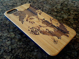 Wolf Rose iPhone Case | 8, 8 Plus, 7, 7 Plus, 6, 6S, 6 Plus, 6S Plus, SE, 5, 5S Bamboo Wood Cover