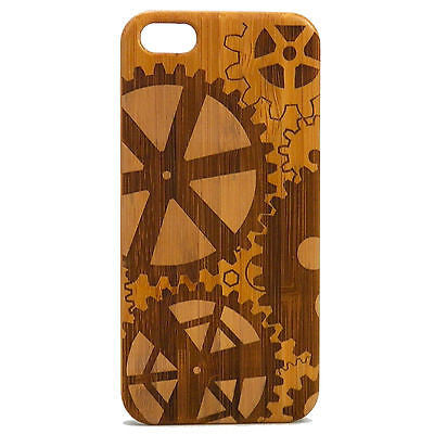 Steampunk iPhone Case | 6, 6S, 6 Plus, 6S Plus, SE, 5, 5S, 5C. Bamboo Wood Cover. Gears Cogs Mechanical Industrial. By iMakeTheCase