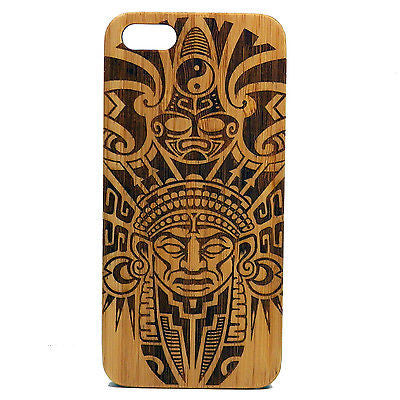 Aztec iPhone Case | 8, 8 Plus, 7, 7 Plus, 6, 6S, 6 Plus, 6S Plus, SE, 5, 5S, 5C. Bamboo Wood Cover. Tribal Warrior Mask Mayan Pattern. By iMakeTheCase