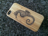 Seahorse iPhone Case | 8, 8 Plus, 7, 7 Plus, 6, 6S, 6 Plus, 6S Plus, SE, 5, 5S Bamboo Wood Cover