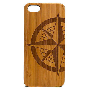 Compass Rose iPhone Case | 8, 8 Plus, 7, 7 Plus, 6, 6S, 6 Plus, 6S Plus, SE, 5, 5S, 5C. Bamboo Wood Cover. Navigation Nautical Tattoo. By iMakeTheCase