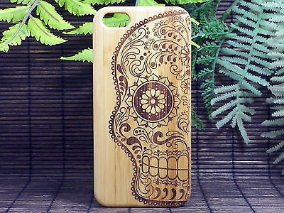 Sugar Skull iPhone Case | 8, 8 Plus, 7, 7 Plus, 6, 6S, 6 Plus, 6S Plus, SE, 5, 5S Bamboo Wood Cover