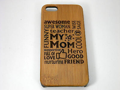 Mom Laser-Engraved Case for iPhone 8, 8 Plus, 7, 7 Plus, 6, 6S, 6 Plus, 6S Plus, SE, 5, 5S