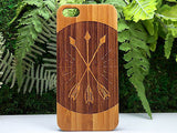 Three Arrows iPhone Case. | 6, 6S, 6 Plus, 6S Plus, SE, 5, 5S, 5C. Bamboo Wood Cover. Retro Rustic Woodland Tattoo Archery Arrow. By iMakeTheCase