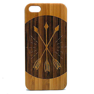Three Arrows iPhone Case | 8, 8 Plus, 7, 7 Plus, 6, 6S, 6 Plus, 6S Plus, SE, 5, 5S Bamboo Wood Cover