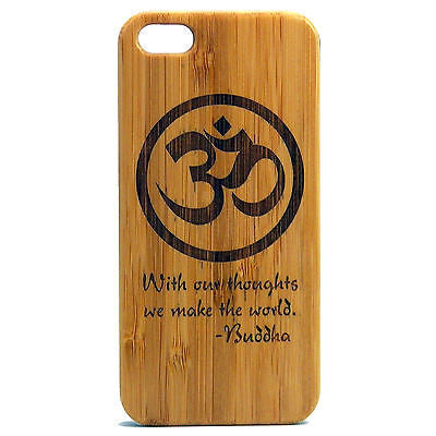 Om Buddha Quote iPhone Case | 8, 8 Plus, 7, 7 Plus, 6, 6S, 6 Plus, 6S Plus, SE, 5, 5S, 5C. Bamboo Wood Cover. Om Symbol Meditation Awaken Buddhist. By iMakeTheCase