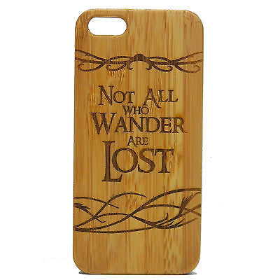 Not All Who Wander Are Lost iPhone Case | 8, 8 Plus, 7, 7 Plus, 6, 6S, 6 Plus, 6S Plus, SE, 5, 5S, 5C. Bamboo Wood Cover. Nomad Quote Lord of the Rings LOTR J R R Tolkien. By iMakeTheCase