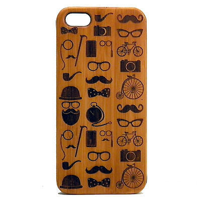 Hipster Icons iPhone Case | 6, 6S, 6 Plus, 6S Plus, SE, 5, 5S, 5C. Bamboo Wood Cover. Mustache Glasses Bowtie Hip Bicycle Camera. By iMakeTheCase