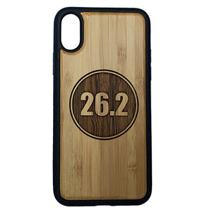 Marathon Runner iPhone Case Cover for iPhone X by iMakeTheCase Eco-Friendly Bamboo Wood Cover + TPU Wrapped Edges 26.2 Miles Running Run Race Gift Motivation Inspiration.