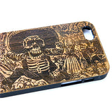 Day of the Dead iPhone Case | 8, 8 Plus, 7, 7 Plus, 6, 6S, 6 Plus, 6S Plus, SE, 5, 5S, 5C. Bamboo Wood Cover. Calavera Oaxaquena Guadalupe Skeleton Skull. By iMakeTheCase