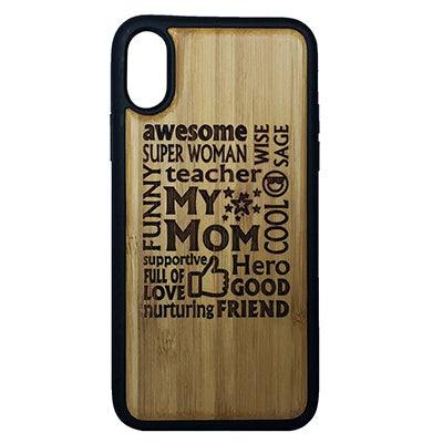 Awesome Mom iPhone Case for iPhone X Eco-Friendly Bamboo Wood Cover + TPU Wrapped Edges