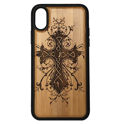 Celtic Cross iPhone Case for iPhone X Eco-Friendly Bamboo Wood Cover + TPU Wrapped Edges