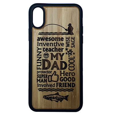 Dad Fishing Laser-Engraved Case for iPhone X, XS, XS Max, XR