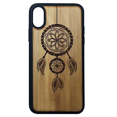 Dreamcatcher iPhone Case for iPhone X Eco-Friendly Bamboo Wood Cover + TPU Wrapped Edges