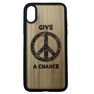Give Peace a Chance Laser-Engraved Case for iPhone X, XS, XS Max, XR