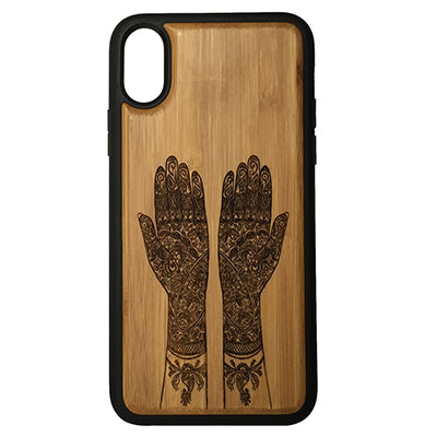 Mehndi iPhone Case Cover for iPhone X by iMakeTheCase Eco-Friendly Bamboo Wood Cover + TPU Wrapped Edges Henna Hand Tattoo Indian Wedding Hindu Vedic Ritual Sanskrit Haldi
