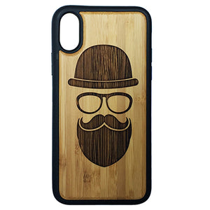 Hipster iPhone Case Cover for iPhone X by iMakeTheCase Eco-Friendly Bamboo Wood Cover + TPU Wrapped Edges Mustache Beard Glasses Tophat Modern Hip Face Gear Movember Man