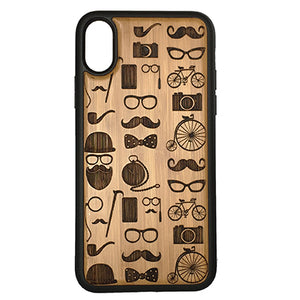 Hipster Icons iPhone Case Cover for iPhone X by iMakeTheCase Eco-Friendly Bamboo Wood Cover + TPU Wrapped Edges Mustache Beard Glasses Bowtie Tophat Pipe Camera Bicycle Monocle